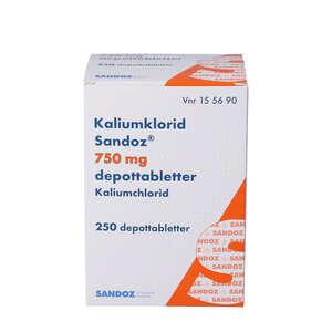 "Kaliumklorid ""Sandoz"" 750 mg 250 stk"