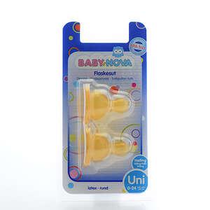 Baby-Nova Flaskesutter (latex - rund/mælk)